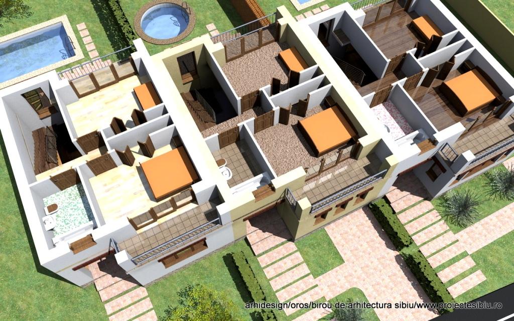 Etajul 3D Proiect case triplex